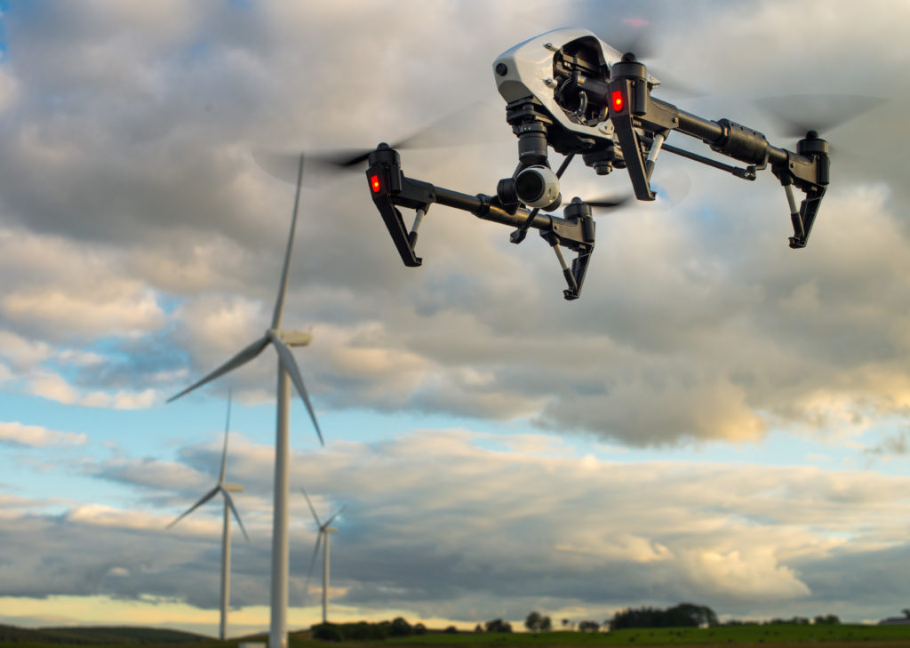 DJI Inspire 1 inspecting wind turbines at Muirhall wind farm during survey works